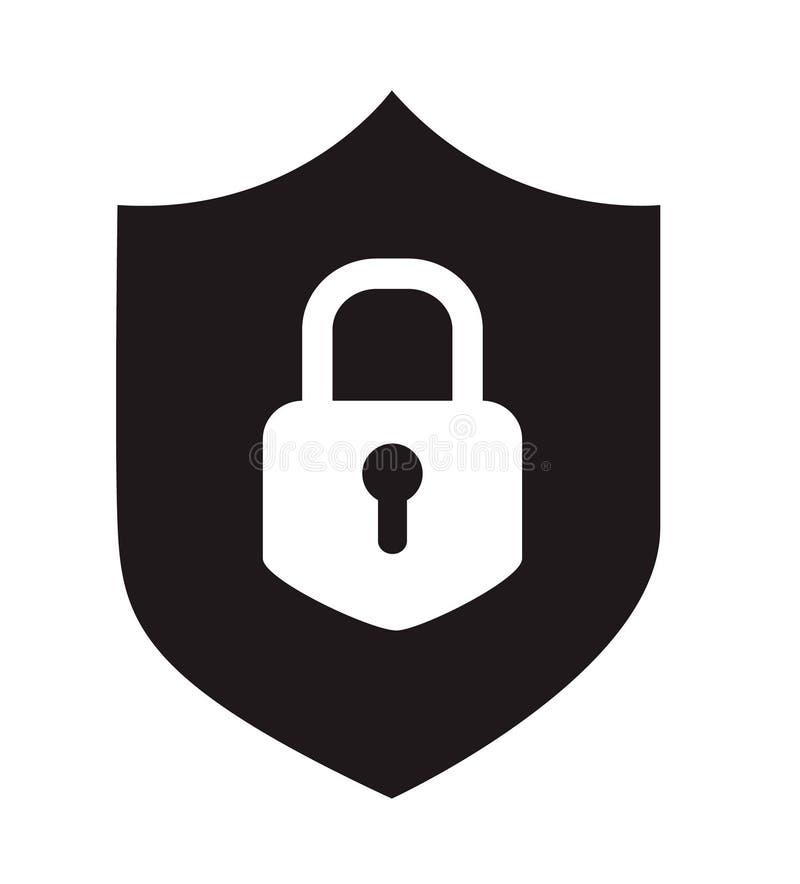 Icono plano simple negro de la seguridad del web de Internet, escudo con el cojín libre illustration