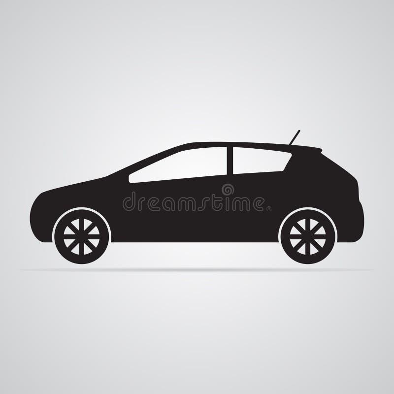 Icono plano tallado de la silueta, diseño simple del vector Coche en perfil libre illustration