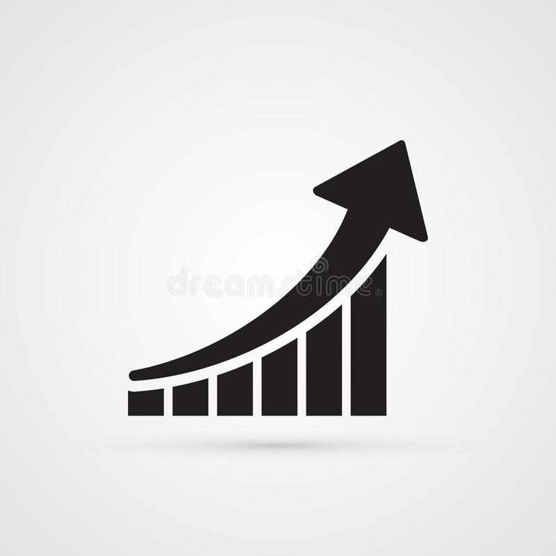 Icono plano tallado de la silueta, diseño simple del vector Flecha con el bl stock de ilustración
