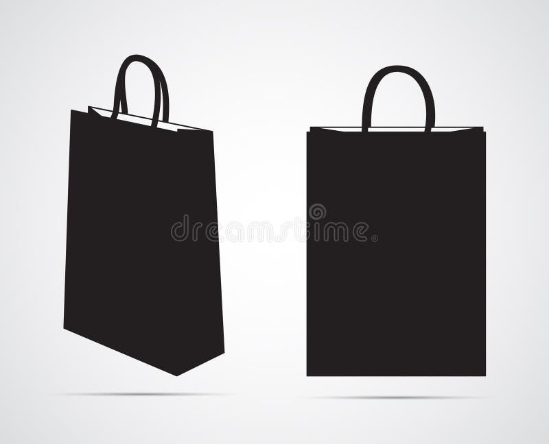 Icono plano tallado de la silueta, diseño simple del vector Maqueta vacía de la bolsa de papel stock de ilustración