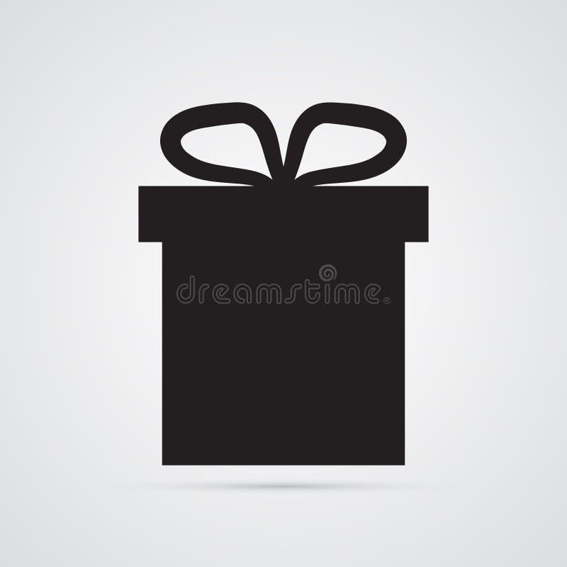 Icono plano tallado de la silueta, diseño simple del vector Rectángulo de regalo stock de ilustración