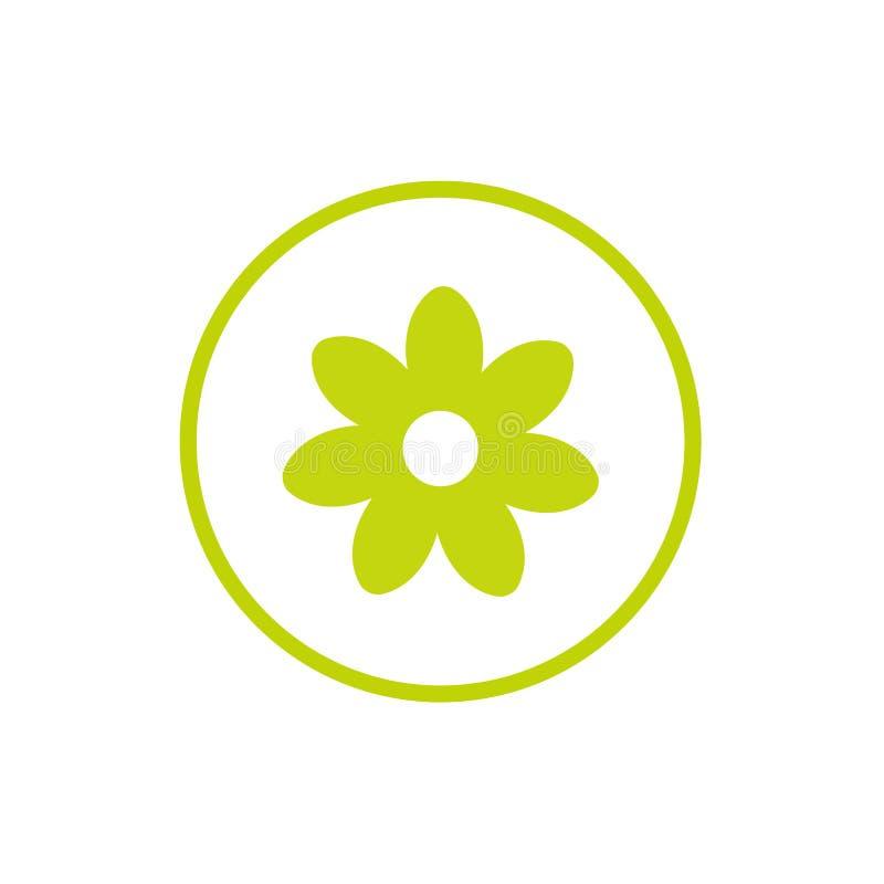Icono plano verde de la manzanilla con la puntilla curvada Aislado en blanco Ilustración del vector Estilo de Eco Naturaleza ilustración del vector