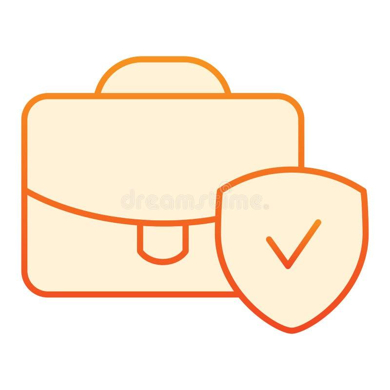 Icono plano verificado del equipaje Maleta con los iconos anaranjados de la señal en estilo plano de moda Cartera con pendiente d libre illustration