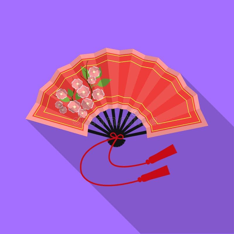 Icono plegable de la fan en estilo plano aislado en el fondo blanco Ejemplo del vector de la acción del símbolo de Japón stock de ilustración