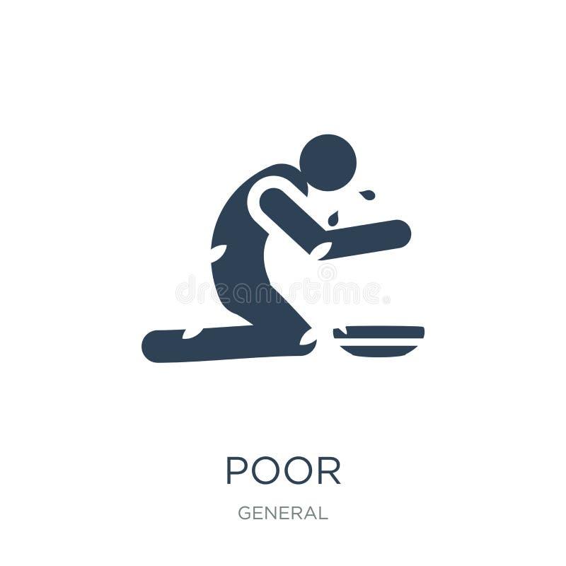 icono pobre en estilo de moda del diseño Icono pobre aislado en el fondo blanco símbolo plano simple y moderno del icono pobre de libre illustration