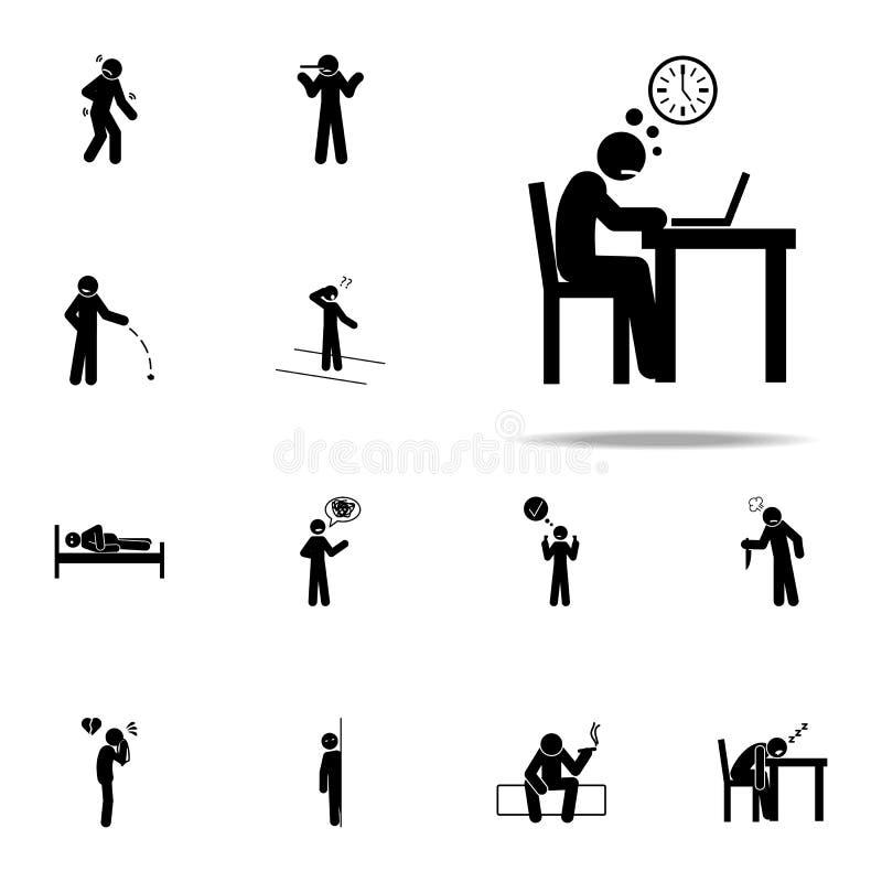 icono poco entusiasta Sistema universal de los iconos negativos del carácter para la web y el móvil ilustración del vector