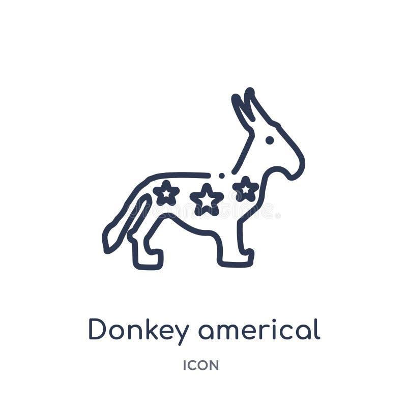 icono político americal del burro de la colección política del esquema Línea fina icono político americal del burro aislado en bl ilustración del vector