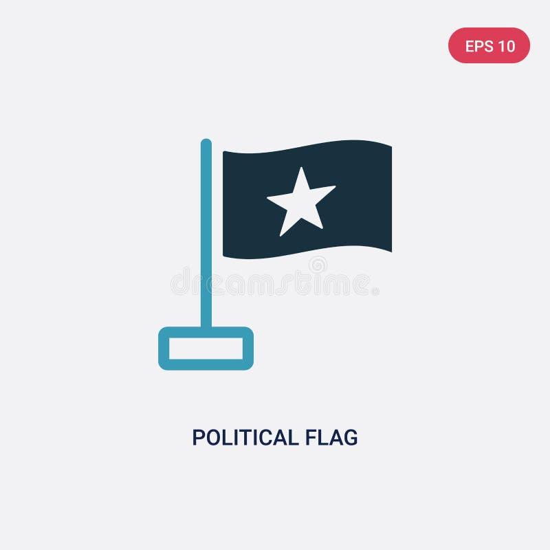 Icono político bicolor del vector de la bandera del concepto político el símbolo político azul aislado de la muestra del vector d ilustración del vector