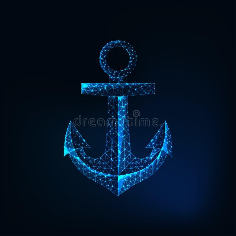 Icono poligonal bajo futurista del ancla que brilla intensamente aislado en fondo azul marino stock de ilustración
