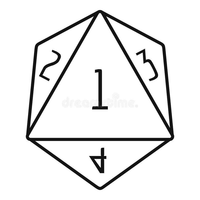 Icono poligonal del número de los dados, estilo del esquema ilustración del vector