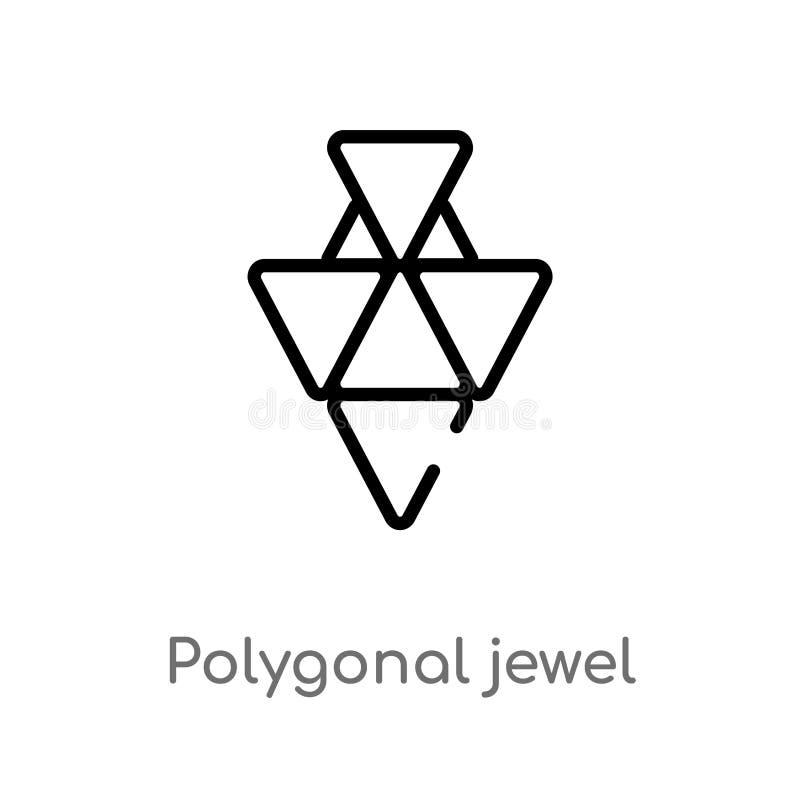 icono poligonal del vector de la joya del esquema línea simple negra aislada ejemplo del elemento del concepto de la geometría Mo ilustración del vector