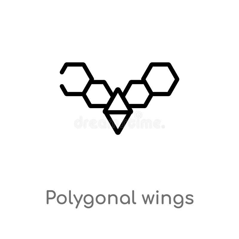 icono poligonal del vector de las alas del esquema línea simple negra aislada ejemplo del elemento del concepto de la geometría M stock de ilustración