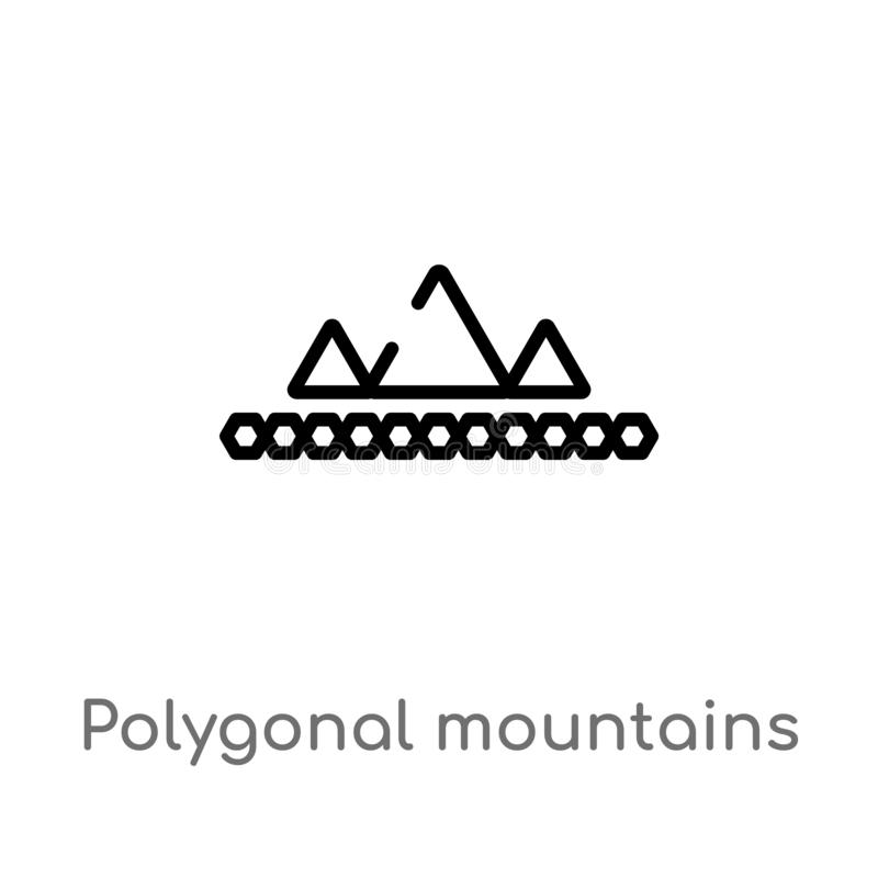 icono poligonal del vector de las montañas del esquema línea simple negra aislada ejemplo del elemento del concepto de la geometr ilustración del vector