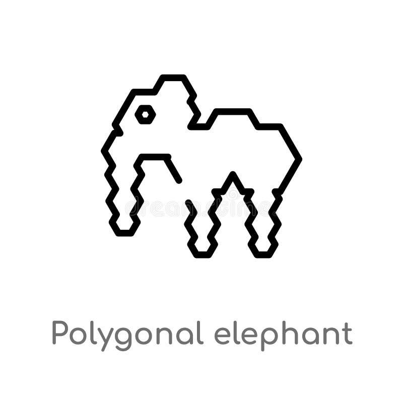 icono poligonal del vector del elefante del esquema l?nea simple negra aislada ejemplo del elemento del concepto de la geometr?a  stock de ilustración