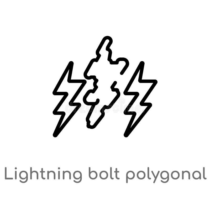 icono poligonal del vector del rayo del esquema l?nea simple negra aislada ejemplo del elemento del concepto de la geometr?a edit libre illustration