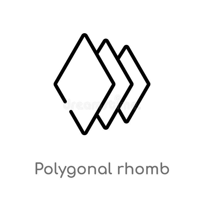 icono poligonal del vector del rombo del esquema línea simple negra aislada ejemplo del elemento del concepto de la geometría Mov stock de ilustración