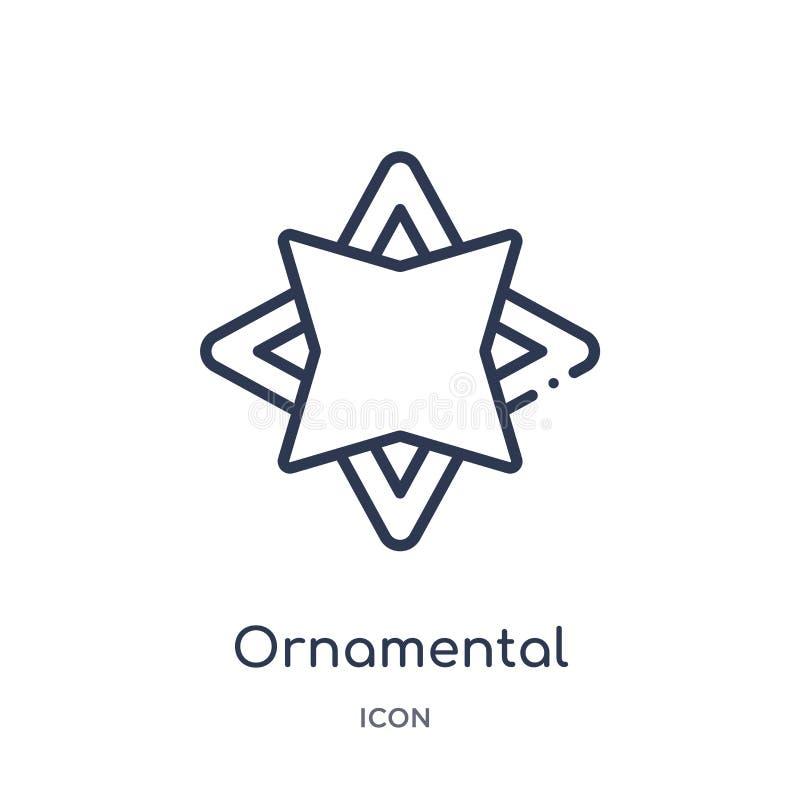 Icono poligonal giratorio ornamental linear de la colección del esquema de la geometría Línea fina icono poligonal giratorio orna ilustración del vector