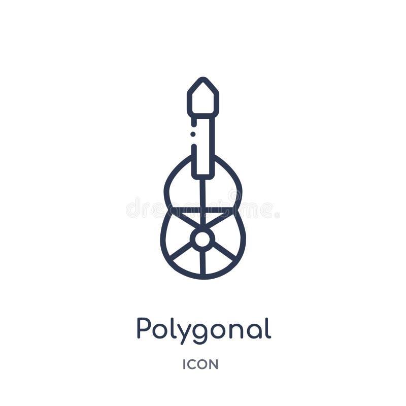 Icono poligonal linear de la guitarra de los triángulos de la colección del esquema de la geometría Línea fina icono poligonal de stock de ilustración