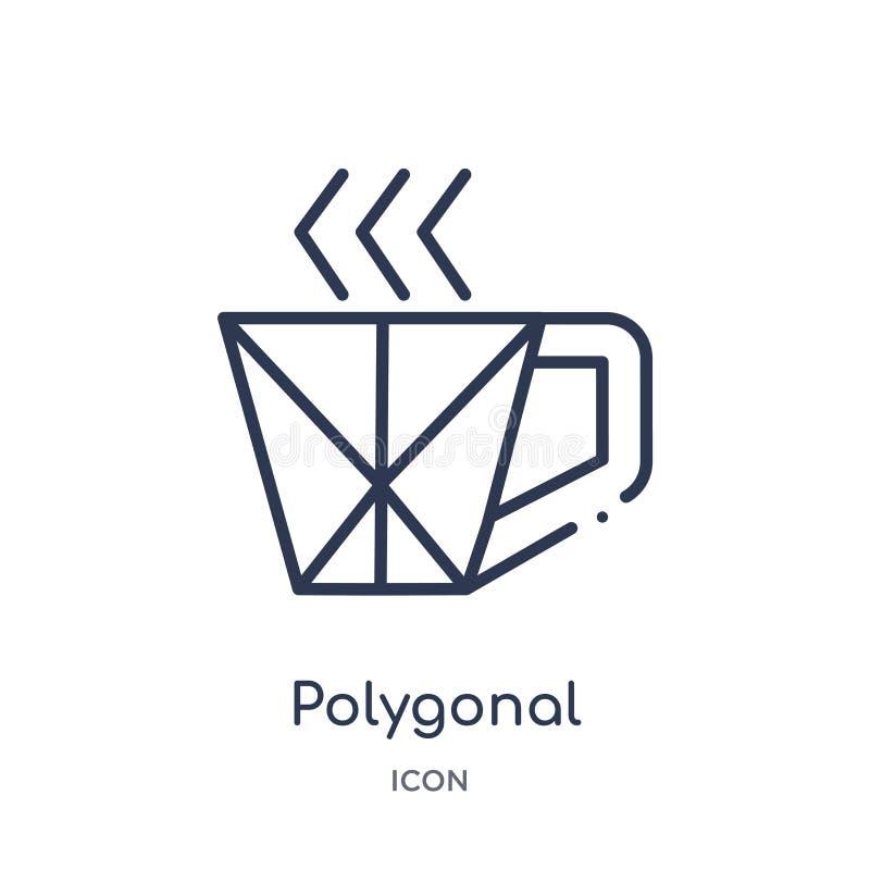 Icono poligonal linear de la taza de café de la colección del esquema de la geometría Línea fina icono poligonal de la taza de ca ilustración del vector