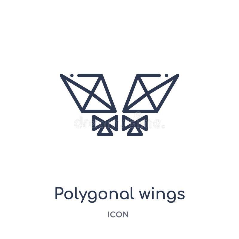 Icono poligonal linear de las alas de la colección del esquema de la geometría Línea fina icono poligonal de las alas aislado en  libre illustration