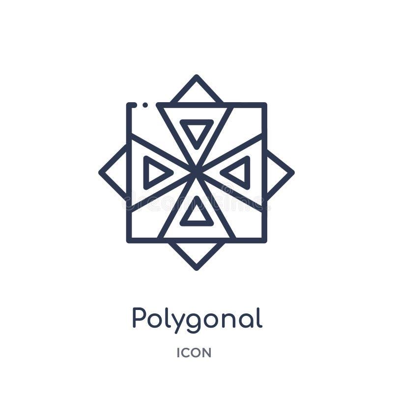 Icono poligonal linear de las estrellas múltiples de la colección del esquema de la geometría Línea fina icono poligonal de las e ilustración del vector