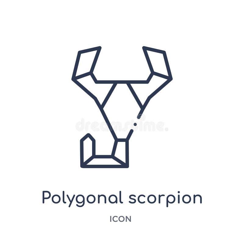 Icono poligonal linear del escorpión de la colección del esquema de la geometría Línea fina icono poligonal del escorpión aislado stock de ilustración