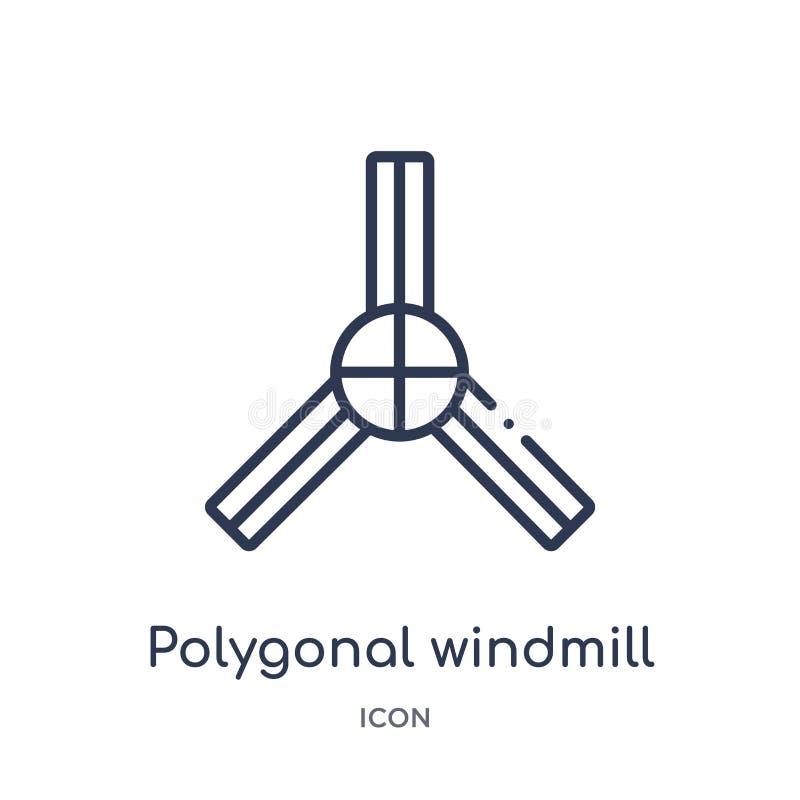 Icono poligonal linear del molino de viento de la colección del esquema de la geometría Línea fina icono poligonal del molino de  stock de ilustración