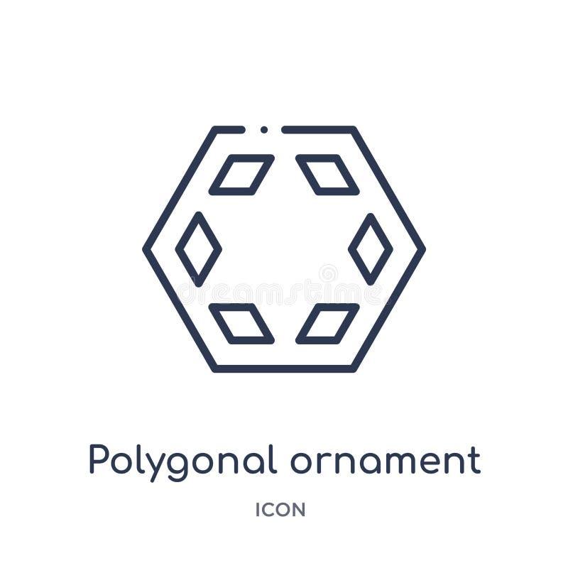 Icono poligonal linear del ornamento de la colección del esquema de la geometría Línea fina icono poligonal del ornamento aislado libre illustration