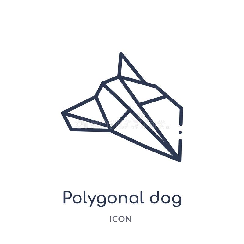Icono poligonal linear del perro de la colección del esquema de la geometría Línea fina icono poligonal del perro aislado en el f stock de ilustración