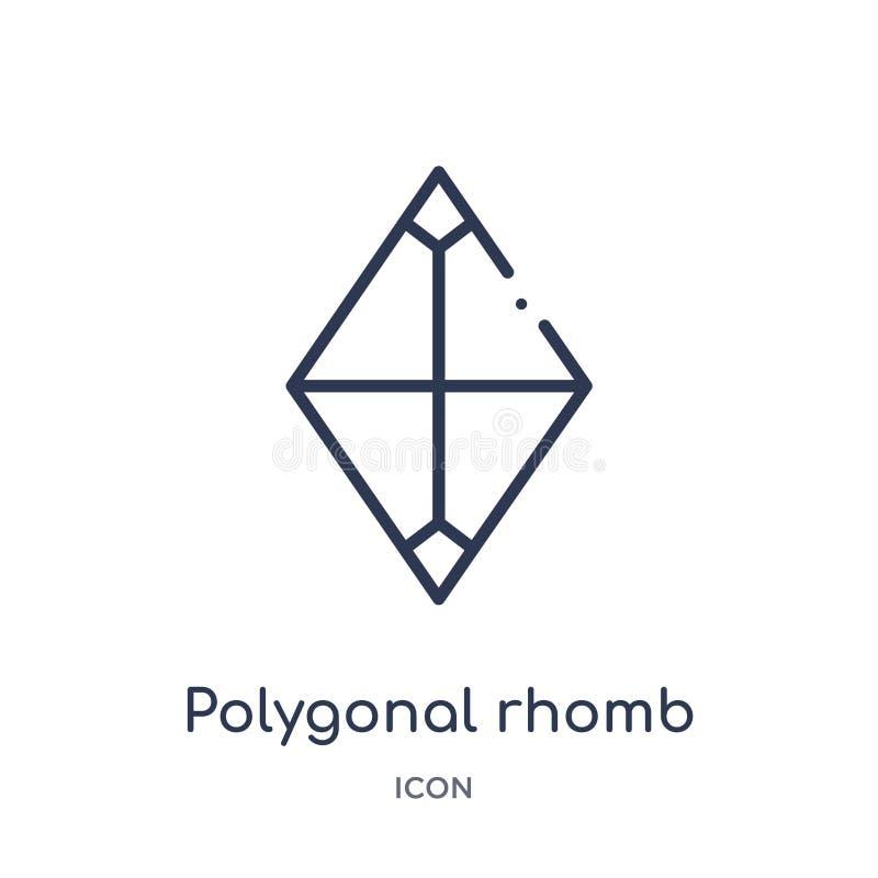 Icono poligonal linear del rombo de la colección del esquema de la geometría Línea fina icono poligonal del rombo aislado en el f stock de ilustración