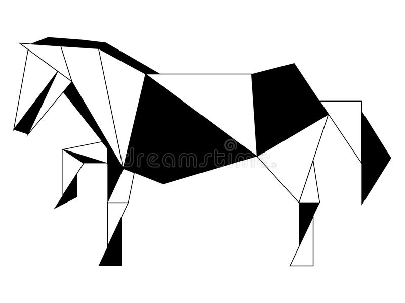 Icono polivinílico bajo abstracto del caballo stock de ilustración