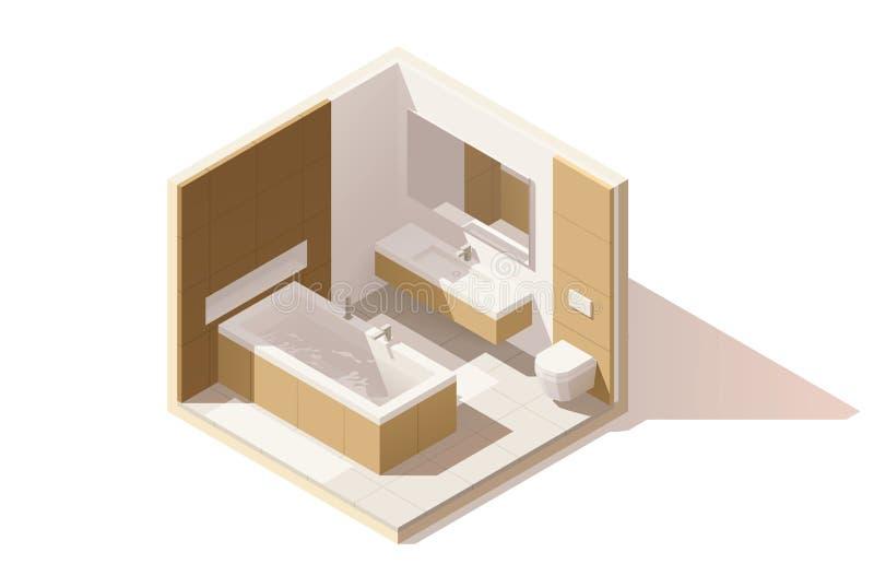 Icono polivinílico bajo isométrico del cuarto de baño del vector libre illustration