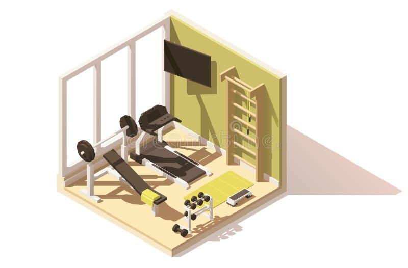 Icono polivinílico bajo isométrico del oom del gimnasio del vector libre illustration