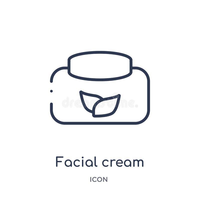 Icono poner crema facial linear de la colección del esquema de la belleza Línea fina vector poner crema facial aislado en el fond libre illustration