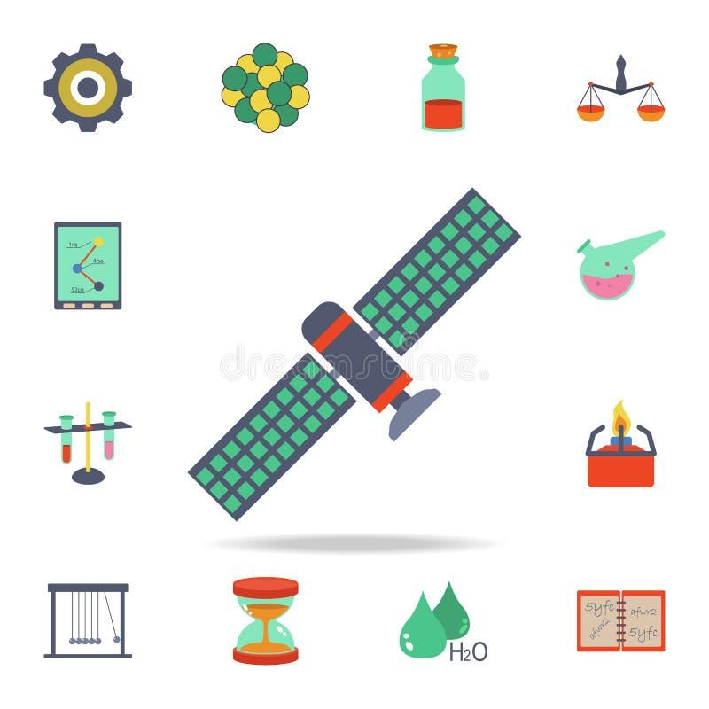 icono por satélite coloreado Sistema detallado de iconos de la ciencia coloreada Diseño gráfico superior Uno de los iconos de la  ilustración del vector