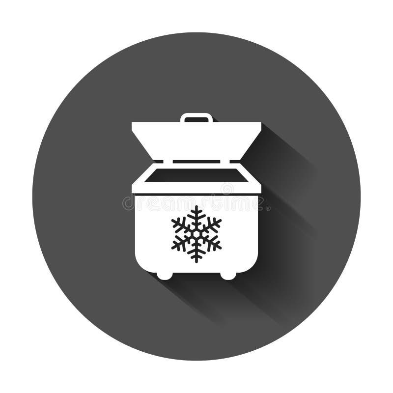 Icono portátil del refrigerador del refrigerador en estilo plano Estafa del bolso del congelador ilustración del vector