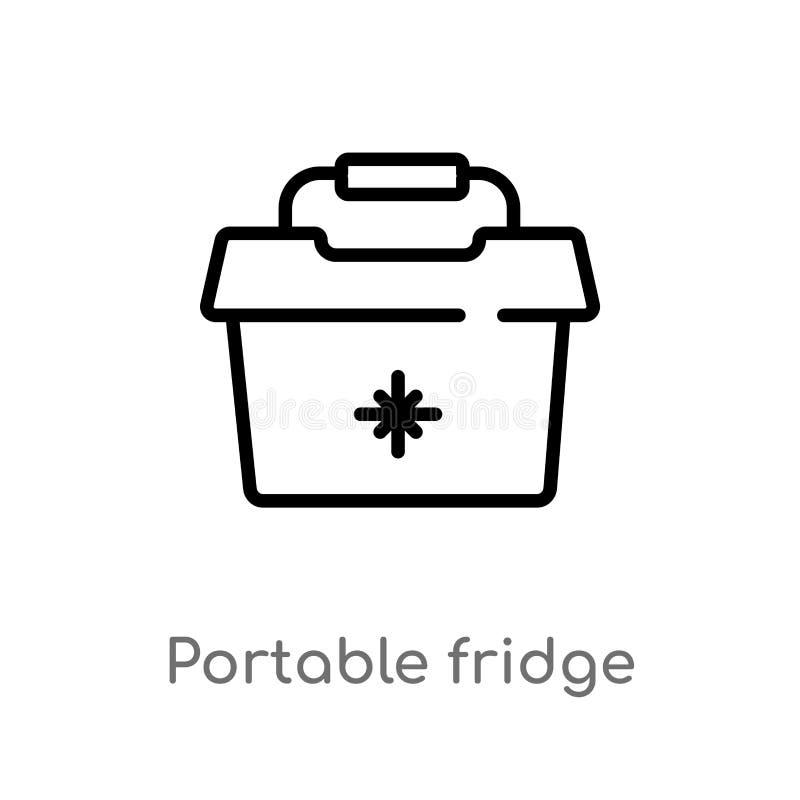 icono port?til del vector del refrigerador del esquema l?nea simple negra aislada ejemplo del elemento del concepto del verano Mo stock de ilustración