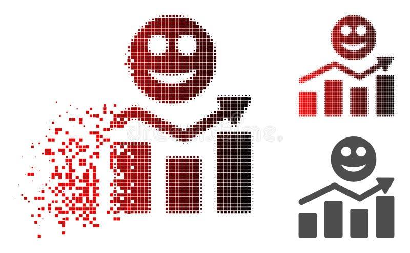 Icono positivo disperso de la tendencia de la sonrisa de semitono del pixel libre illustration