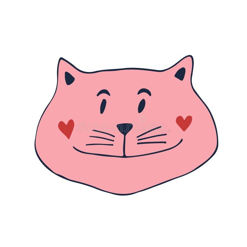 Icono precioso del gato Vector la impresión para el cartel, etiqueta engomada, diseño de la camisa libre illustration