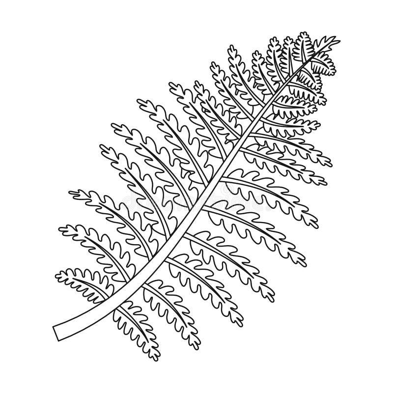 Icono prehistórico de la planta en estilo del esquema aislado en el fondo blanco Dinosaurios y símbolo prehistórico stock de ilustración