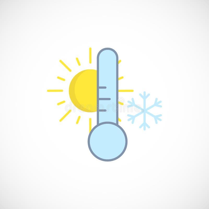 Icono previsto moderno de un tiempo frío del invierno del día en blanco ilustración del vector