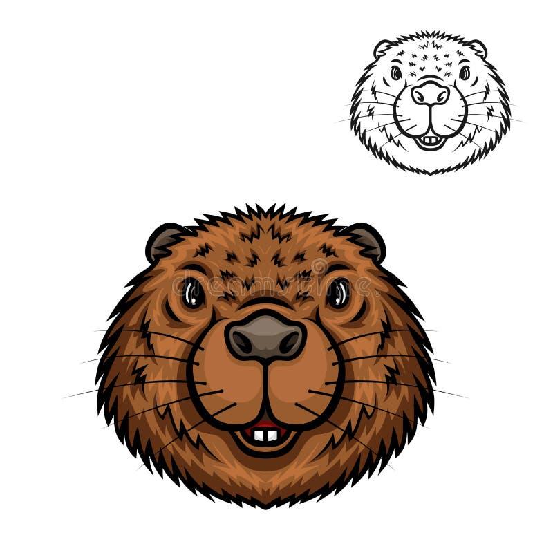 Icono principal animal de la historieta del castor stock de ilustración