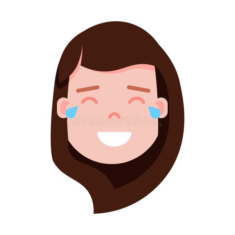 Icono principal con emociones faciales, carácter del avatar, cara gritadora feliz del personaje del emoji de la muchacha de la mu ilustración del vector