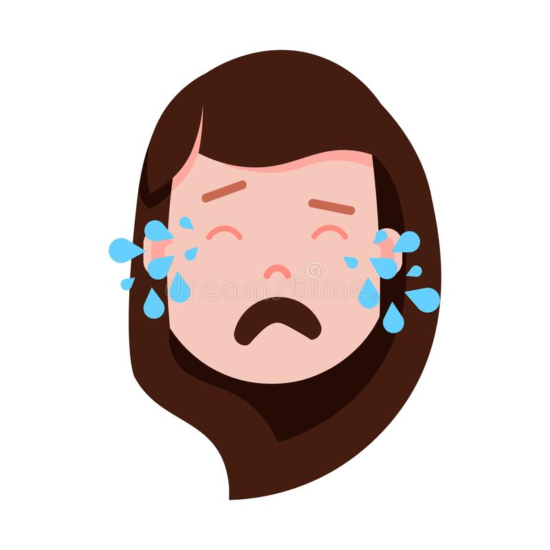 Icono principal con emociones faciales, carácter del avatar, cara gritadora del personaje del emoji de la muchacha de la mujer co ilustración del vector