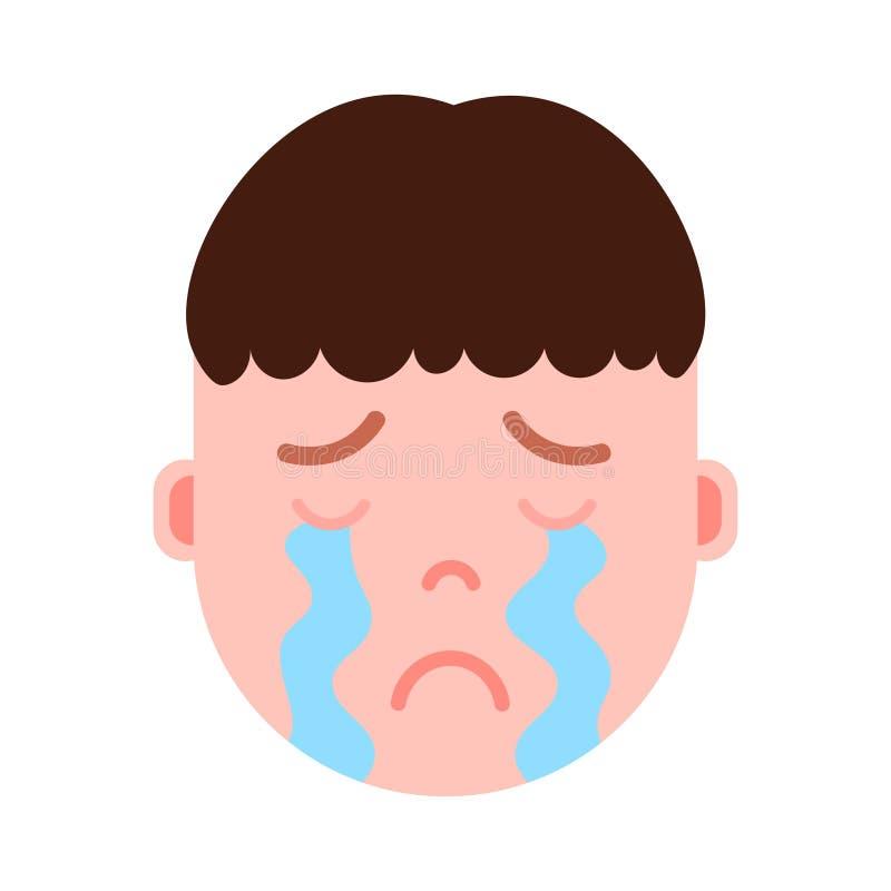 Icono principal con emociones faciales, carácter del avatar, cara gritadora del personaje del emoji del muchacho del hombre con d stock de ilustración