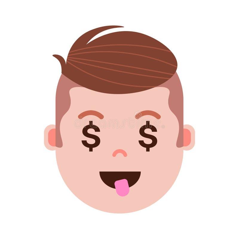 Icono principal con emociones faciales, carácter del avatar, cara del personaje del emoji del muchacho del dólar del hombre con d stock de ilustración