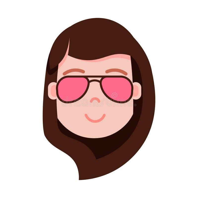 Icono principal con emociones faciales, carácter del avatar, mujer del personaje del emoji de la muchacha en cara de los vidrios  libre illustration