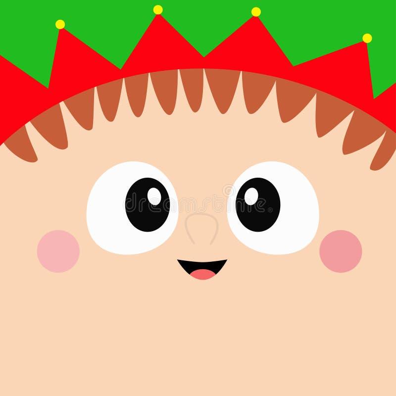 Icono principal de la cara del cuadrado de Santa Claus Elf Feliz Navidad Ojos grandes, nariz, mejillas, sombrero rojo verde Feliz stock de ilustración