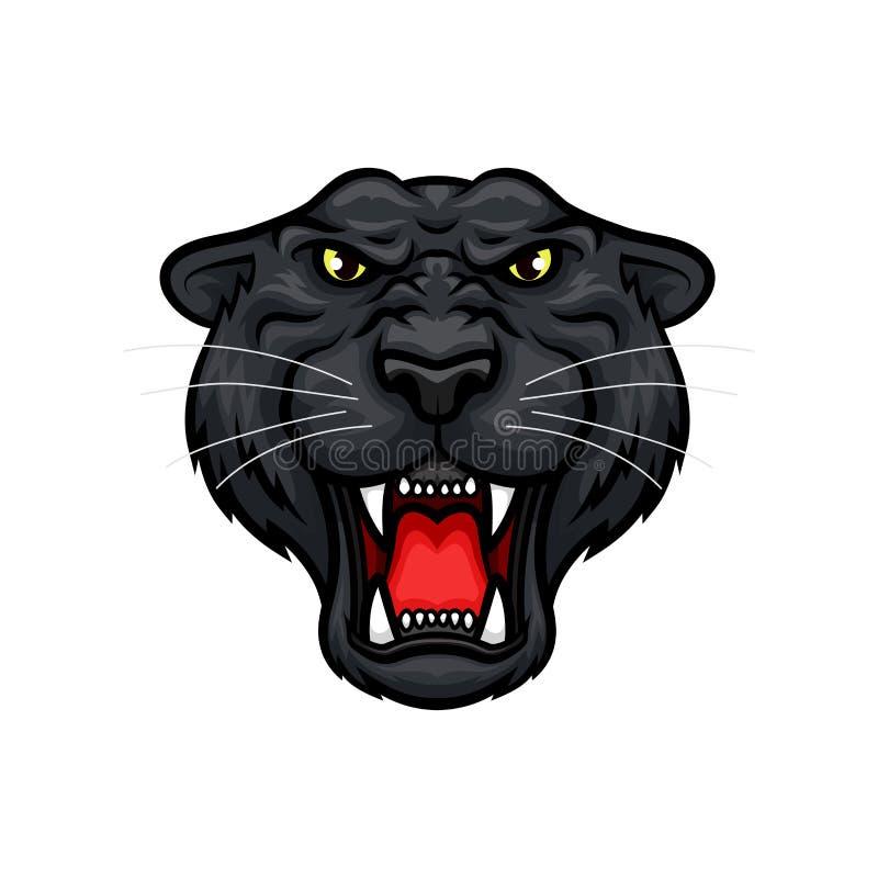 Icono principal de la mascota del vector del bozal del rugido de la pantera ilustración del vector