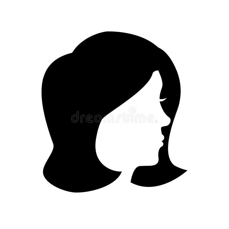 Icono principal de la silueta de la mujer stock de ilustración